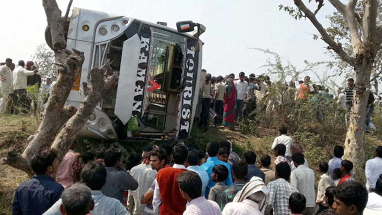 Image result for Gujarat: Children among 20 injured as school bus collides with truck near Sarkhej,