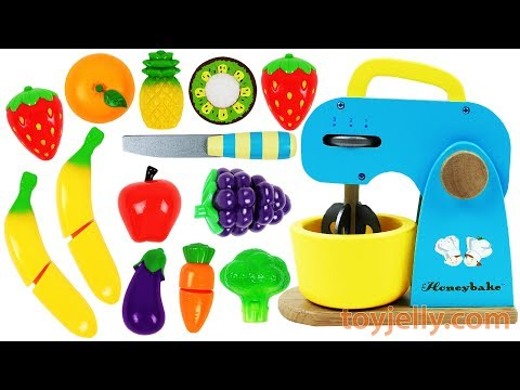 Learn Fruits & Vegetables Toy Mixer Playset Wooden Velcro Toys Birthday Cake for Kids Nursery Rhymes