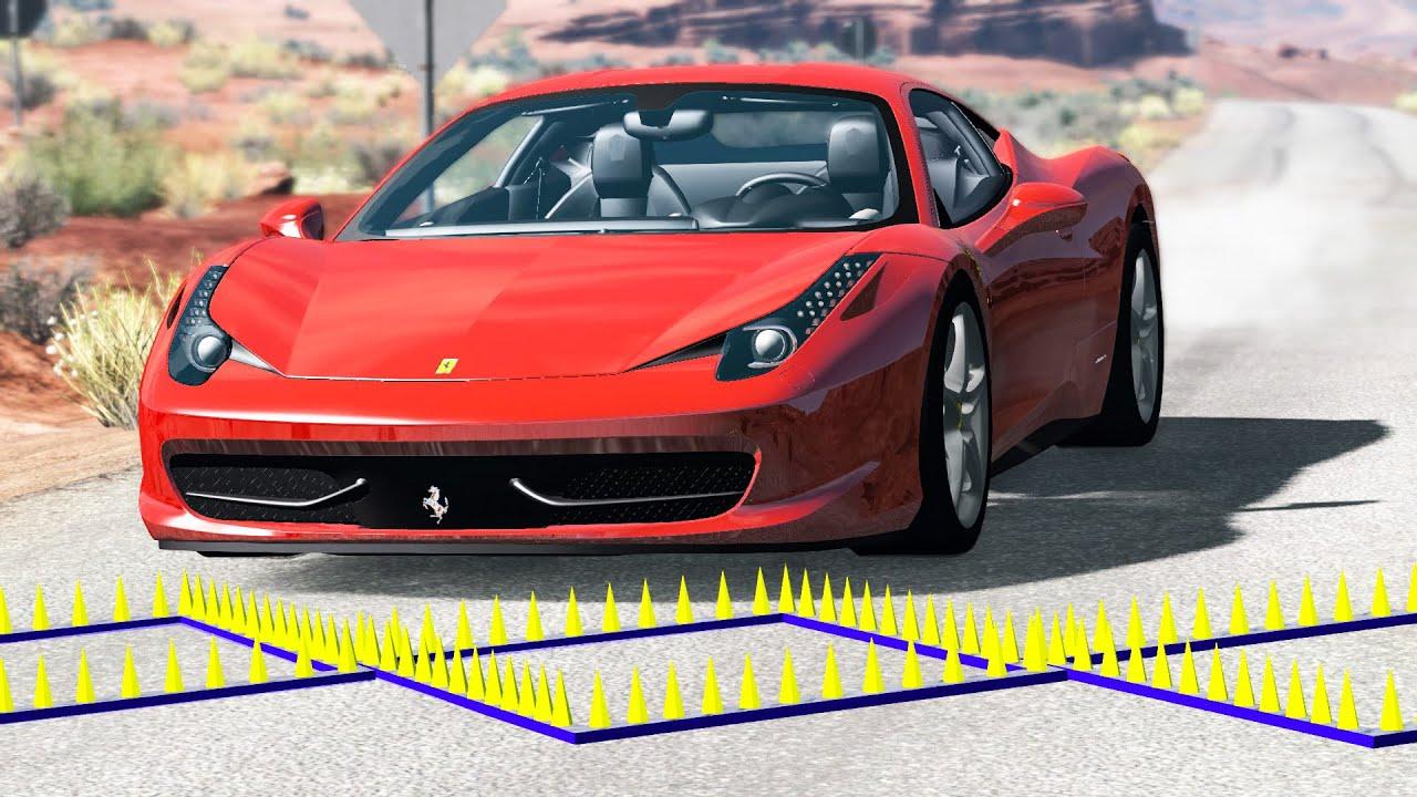 High Speed Spike Strip Crashes #42 - BeamNG Drive | CRASHdriven