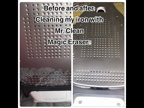 How to clean your iron with a Mr. Clean Magic Eraser: tutorial on cleaning sticky residue off iron