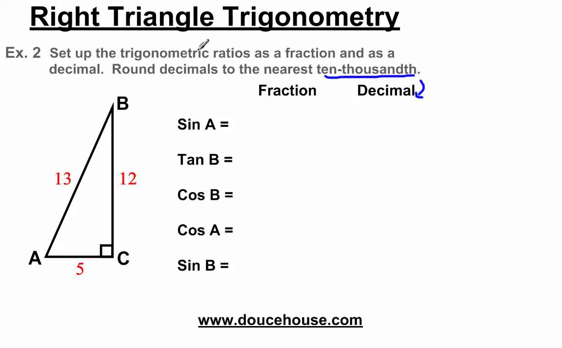 Right Triangle Trigonometry Trigonometric Ratios Example: Area Of A  Triangle Involving Fractions