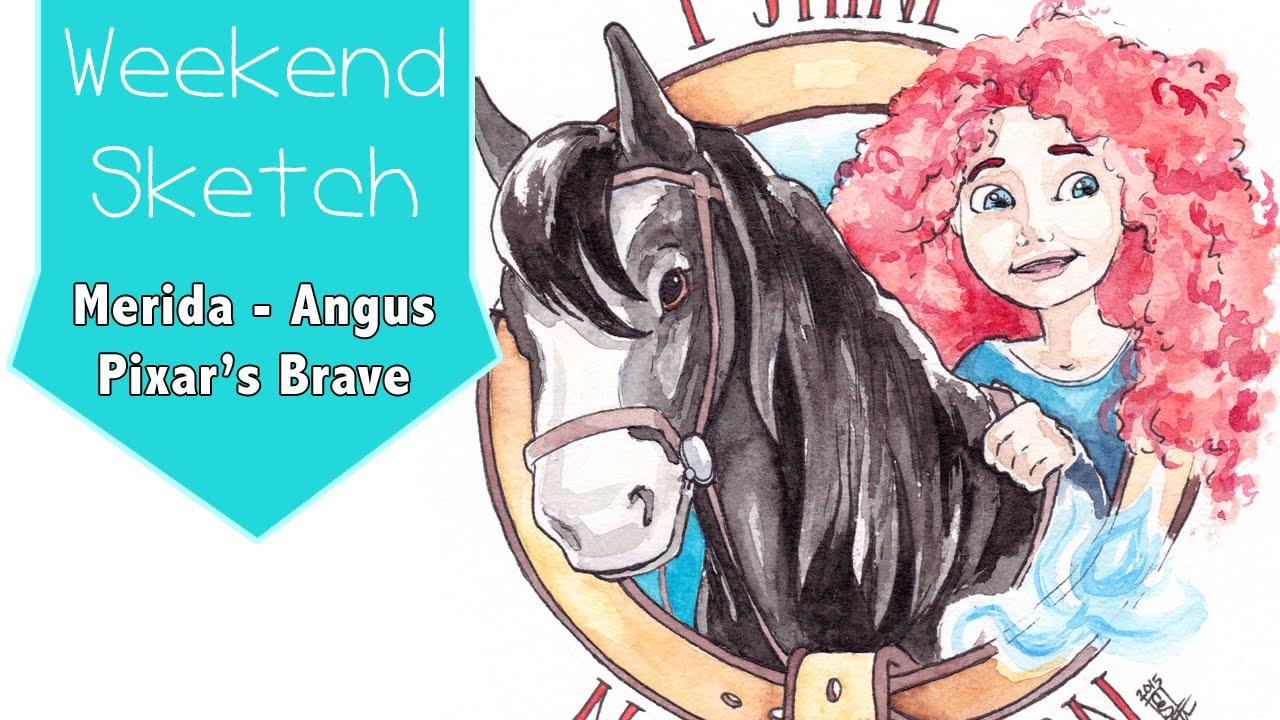 merida & angus - disney pixar's brave - weekend sketch - youtube