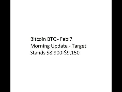 Bitcoin BTC - Feb 7 Morning Update - Target Stands $8,900-$9,150