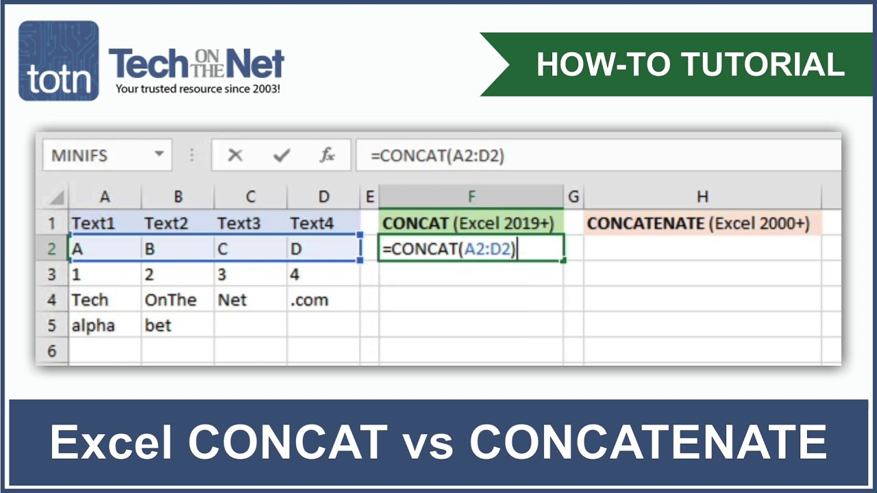 MS Excel How to use the CONCAT Function WS