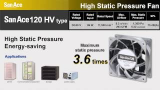 Powerful even in tight spaces - San Ace 120x38 HV High Static Pressure Fan
