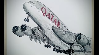 Airbus A380, QATAR AIR. Drawing Timelapse