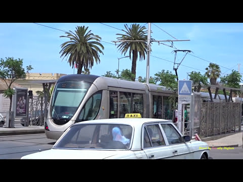 Trams in Rabat, Morocco, Africa 2017   ترامواي الرباط - سلا