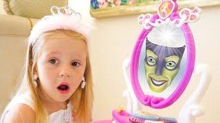 Nastya는 말하는 거울로 노는 척