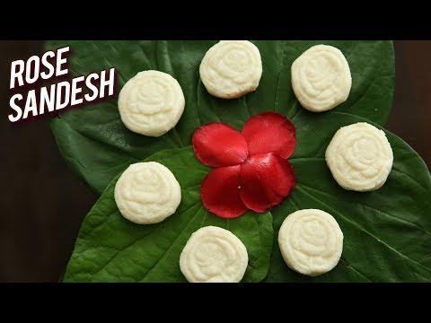 Rose Sandesh - How To Make Sandesh - Indian Dessert Recipe - Bengali Sweet Sondesh Recipe - Ruchi
