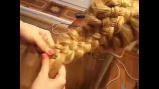пятипрядная коса с подхватами