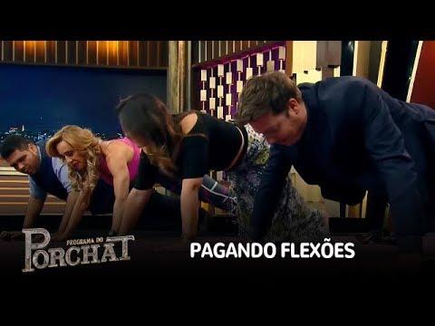 Porchat, Paulo Vieira e Geisy Arruda são desafiados a pagar flexão no palco