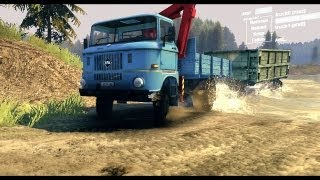 Spin Tires Dev Demo July 2013 - Flatbed IFA W50 with Manipulator Pulling a Trailer thumbnail