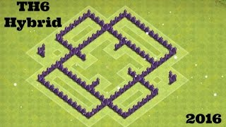 Clash of Clans | New TH6 Hybrid Base 2016! Protect LOOT and TH!