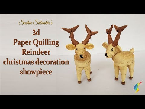 3d Paper Quilling Reindeer / Quilled Christmas decoration Ideas