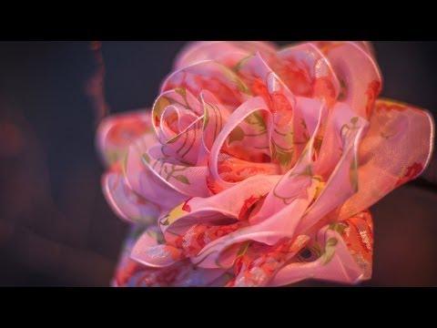DIY: Rose organza / Роза из органзы (цветы из ткани)