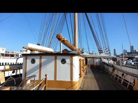 Balclutha Square Rigged Sailing Ship Topsides Deck Tour. Hyde Street Pier. San Francisco, CA.