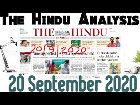20 September 2020 The Hindu Newspaper Complete Analysis