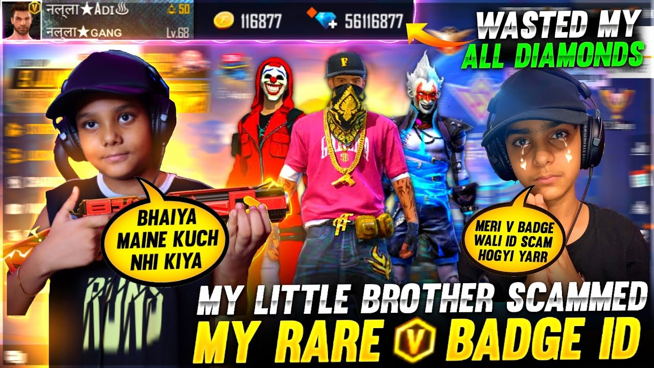 My Little Brother Scammed My Rare V Badge Grandmaster Id 😢❤️ - Garena Free Fire