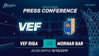 VEF Riga v Mornar Bar - Press Conference - Basketball Champions League 2019-20