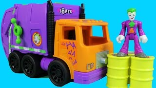Imaginext The Joker & Garbage Truck Delivers An Explosive Barrel To Imaginext Batman Batcave