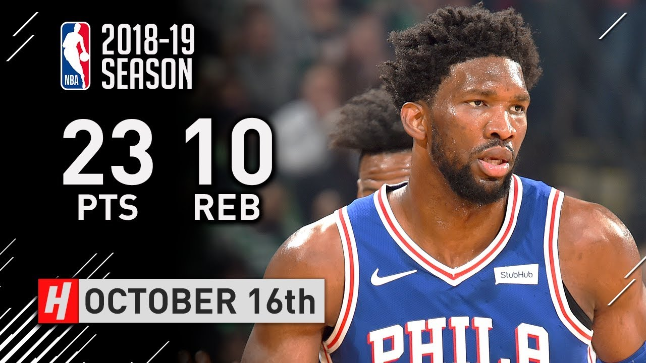 Joel Embiid Full Highlights 76ers vs Celtics 2018.10.16 - 23 Points, 10 Reb - YouTube