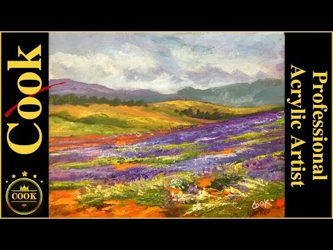 Field of Lavender Acrylic Painting Tutorial for Beginner and Advanced Artists with Ginger Cook