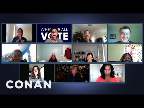 "Conan & Michelle Obama Surprise ""When We All Vote"" Volunteers - CONAN on TBS"