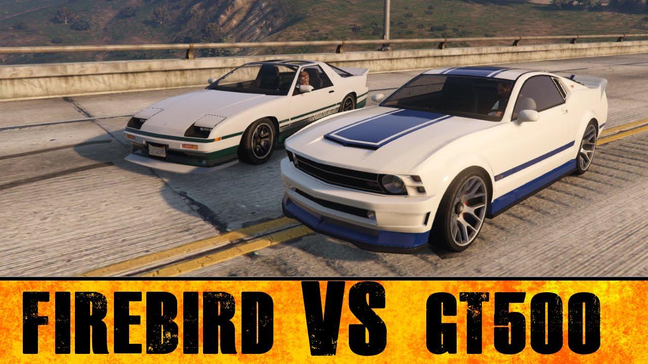 Gta 5 pc drag race ford mustang gt500 vs third gen firebird