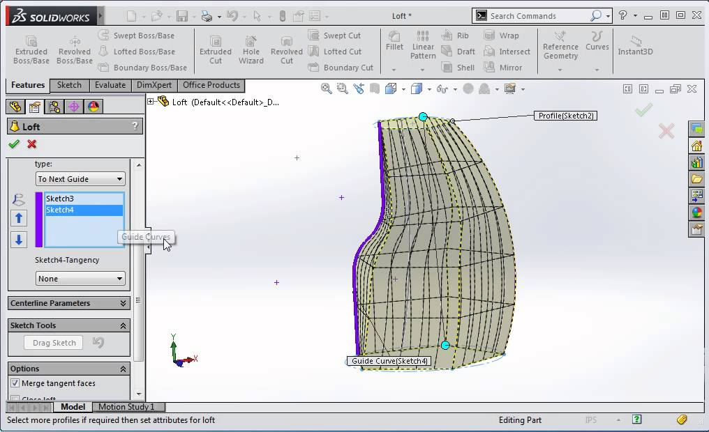 Loft Guide Curve Influence In Solidworks Youtube