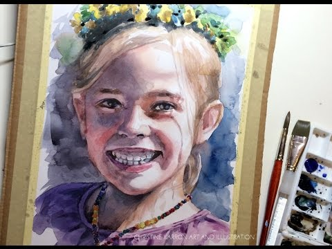 Watercolor portrait on mixed media paper Flowergirl demo by Ch.Karron