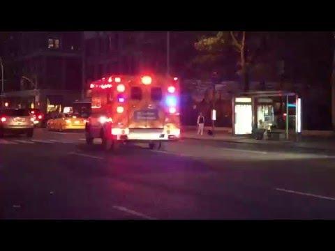 ALMOST EXTINCT ORANGE ST. LUKES ROOSEVELT HOSPITAL EMS AMBULANCE RESPONDING ON AMSTERDAM AVE. NYC.