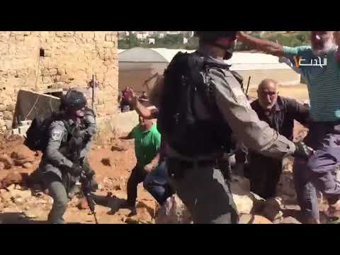 Heavily Armed Zionist Occupation Soldiers Brutally Attacking Palestinian Farmers In Alkhalil City