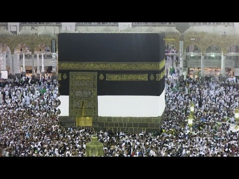 Muslims gather around the Kaaba shrine during the Hajj in Mecca
