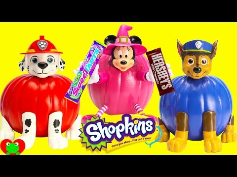 Paw Patrol Marshall Chase Mickey Mouse Halloween Pumpkin Candy Surprises
