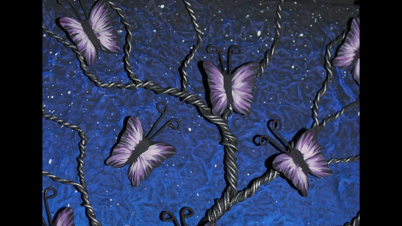 Mixed Media Art - Wire Butterfly Tree - YouTube for Butterfly Painting Designs  54lyp