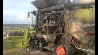 Pożar Claas Lexion 600 Terra Trac