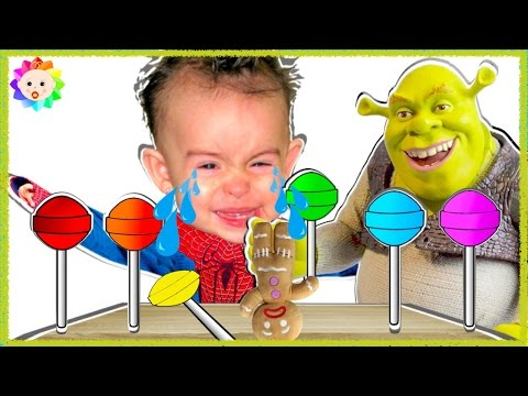 Thumbnail: Spider Baby crying and learn colors Rainbow Lollipops Shrek vs Bad Gingerbread Nursery Rhymes song#5