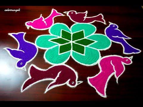 six birds pulli kolam ||rangoli design with 8x5 dots