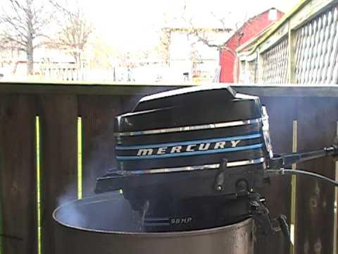 Mercury 98hp (110) outboard motor running in test tank