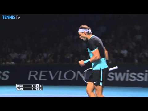 Nadal wins a point against Rosol with 4 BH slices - Basel 2015