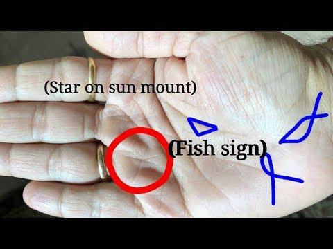 बहुत भाग्यशाली हाथ. Star sign on palm. Fish sign in palmistry. Palmistry in hindi