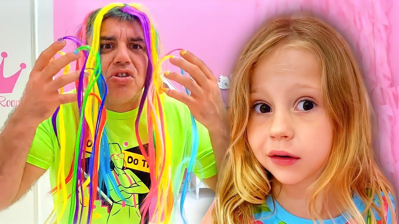 ناستيا ومجموعة من بعض اللحظات المضحكة مع بابا! مجموعة مقاطع فيديو للأطفال