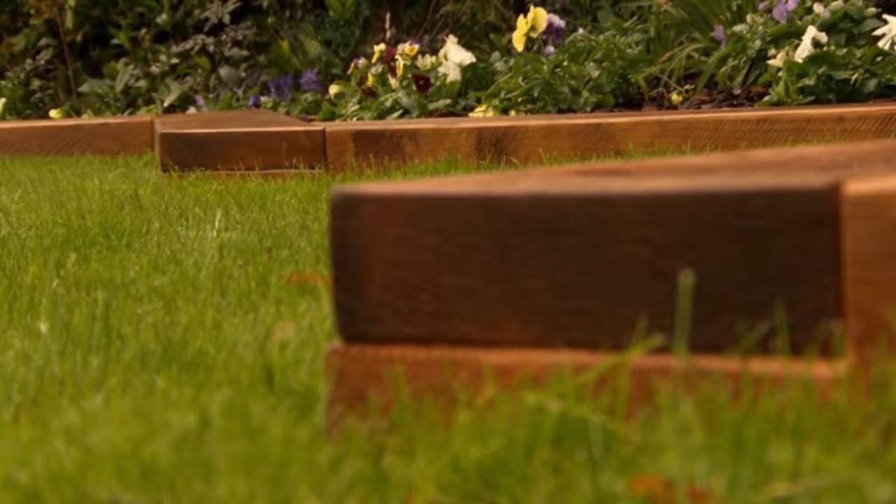 create wooden garden borders