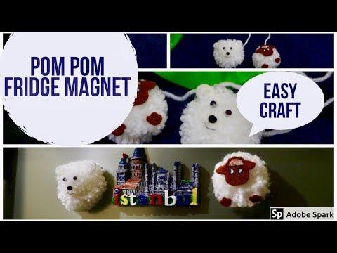 Easy DIY Pom Pom Fridge Magnet   How To Make Pom Pom Sheep & Pomeranian Pappy