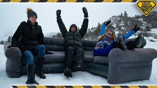 Epic Snow Sledding On A Blowup Couch