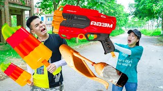Battle Nerf War WINMAN Delivering ICE CREAM MIX & COMPETITION Nerf Guns Fight JMan ICE CREAM COMPILE
