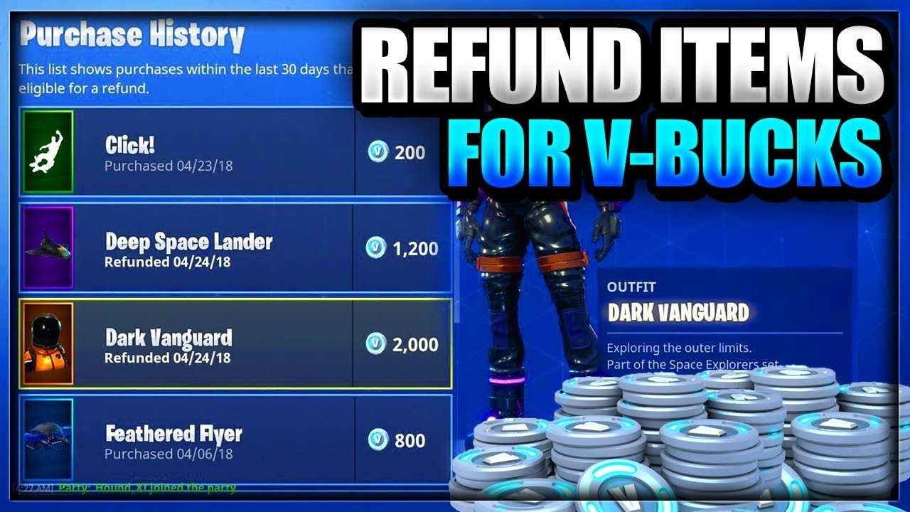 New How To Refund Sell Skins And Items For V Bucks On Fortnite