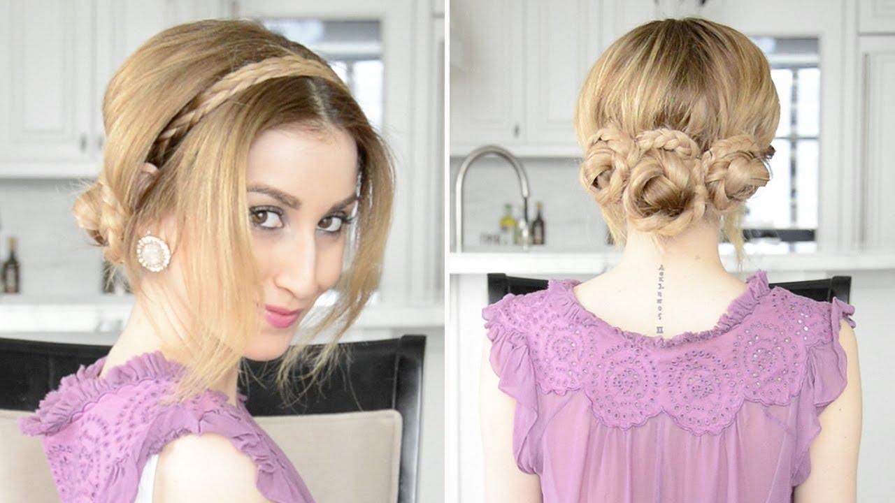 braided updo hairstyle with headband braid | fancy hair tutorial