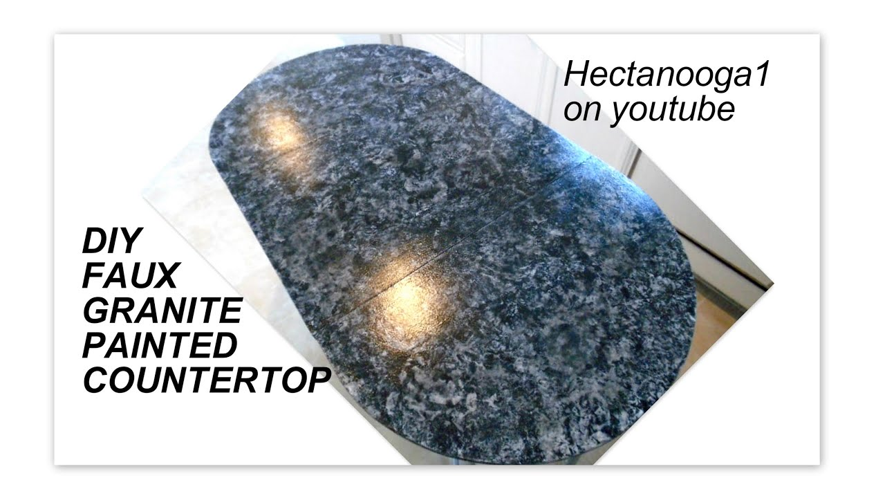 FAUX GRANITE COUNTERTOP DIY, painted kitchen counter - YouTube