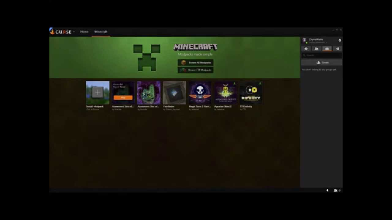 How to install minecraft modpack on Curse